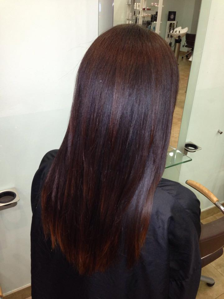 Dark hair color with lowlights